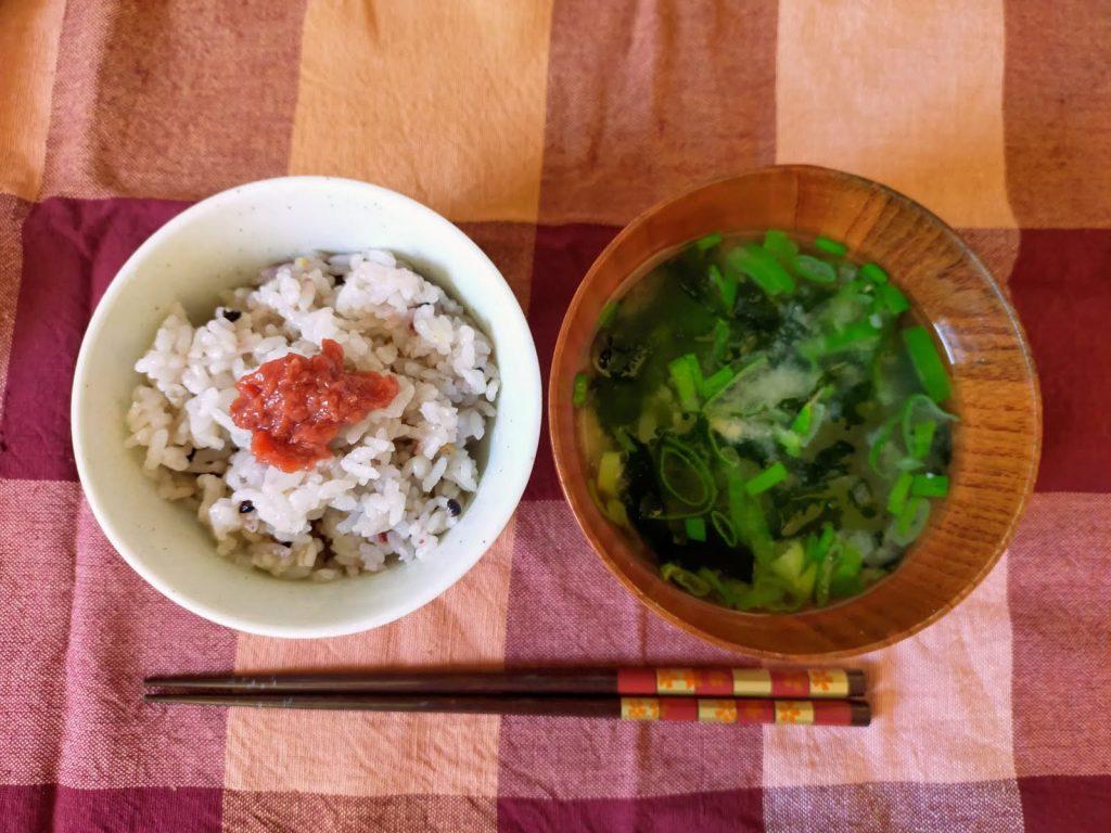 お味噌汁と梅干しご飯。朝に