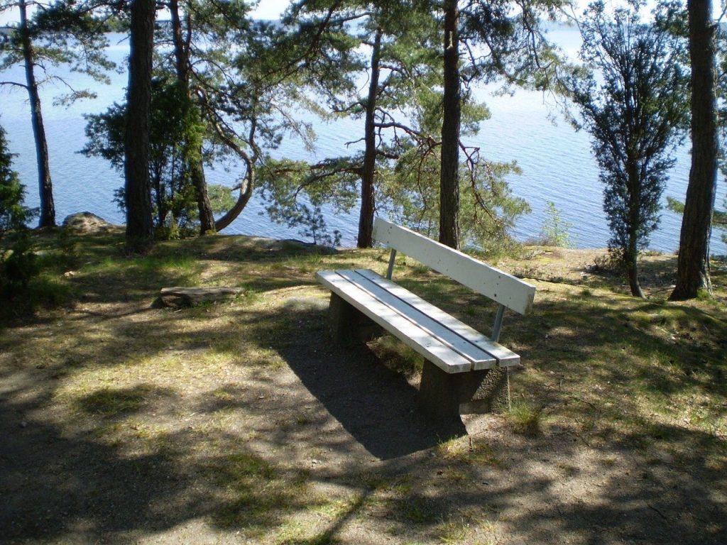 水辺にベンチがある