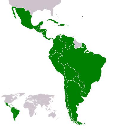 中南米の地図。