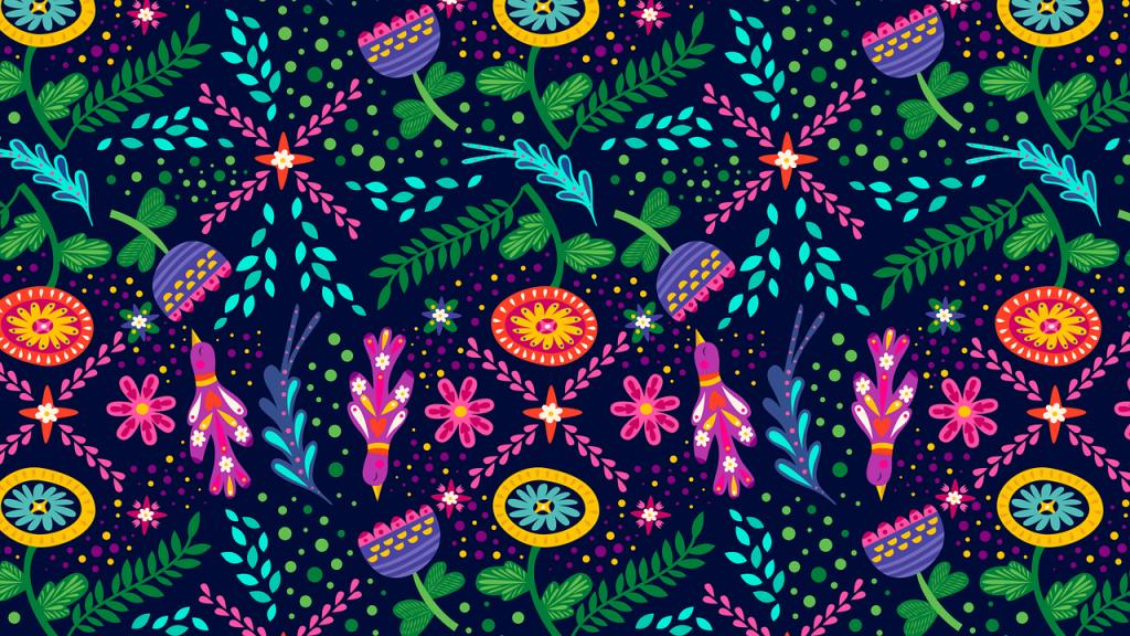 カラフルで花や鳥が描かれたイラスト