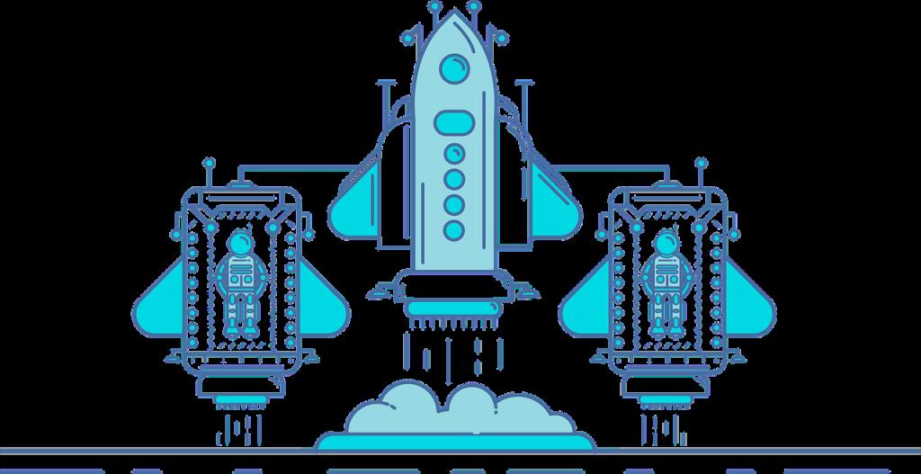 ロボットとロケットのイラスト